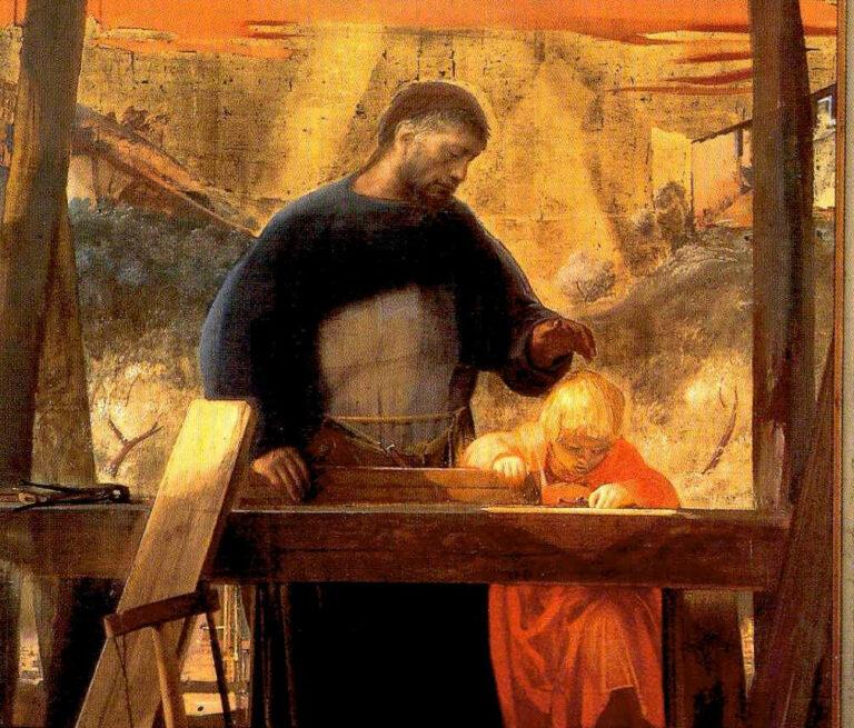 """Particolare di """"San Giuseppe lavoratore"""" (1963, olio su tela, di Pietro Annigoni, San Lorenzo, Firenze)"""