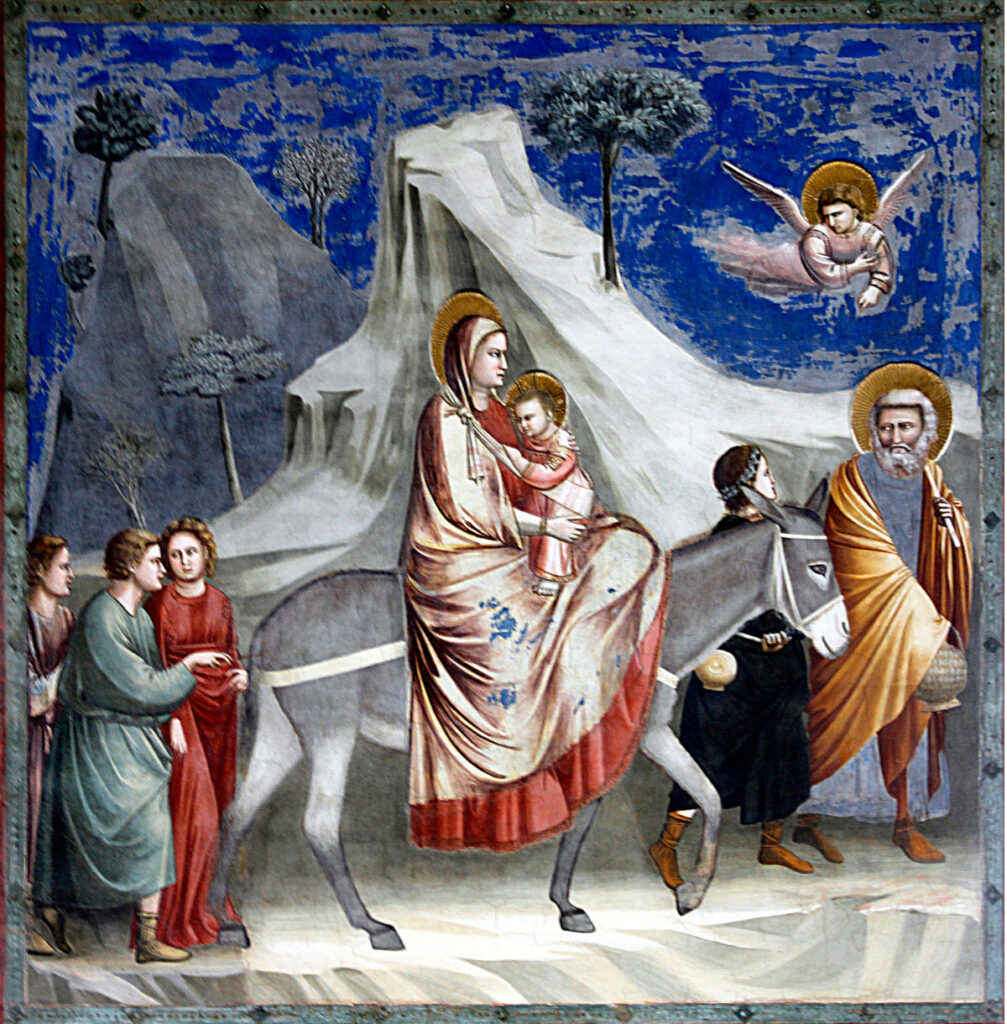 """""""La fuga in Egitto"""", di Giotto (1303-1305, affresco, Cappella degli Scrovegni, Padova)"""