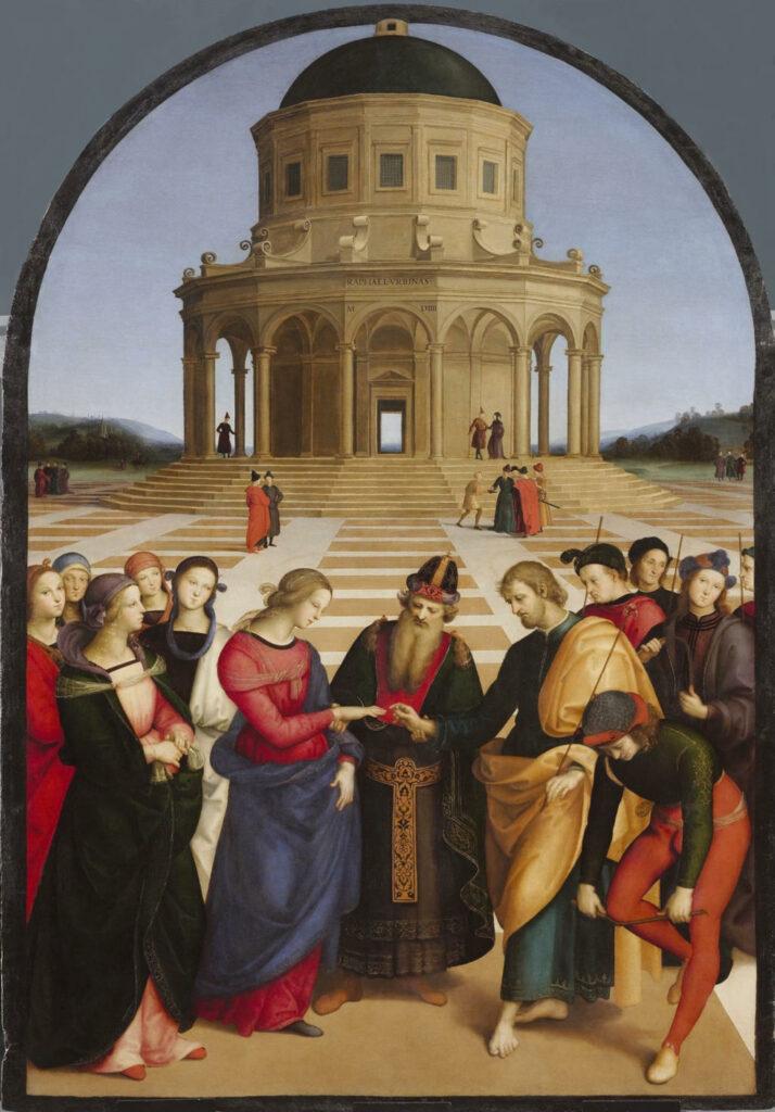 """Raffaello, """"Sposalizio della Vergine"""", 1504, olio su tavola, Pinacoteca di Brera"""