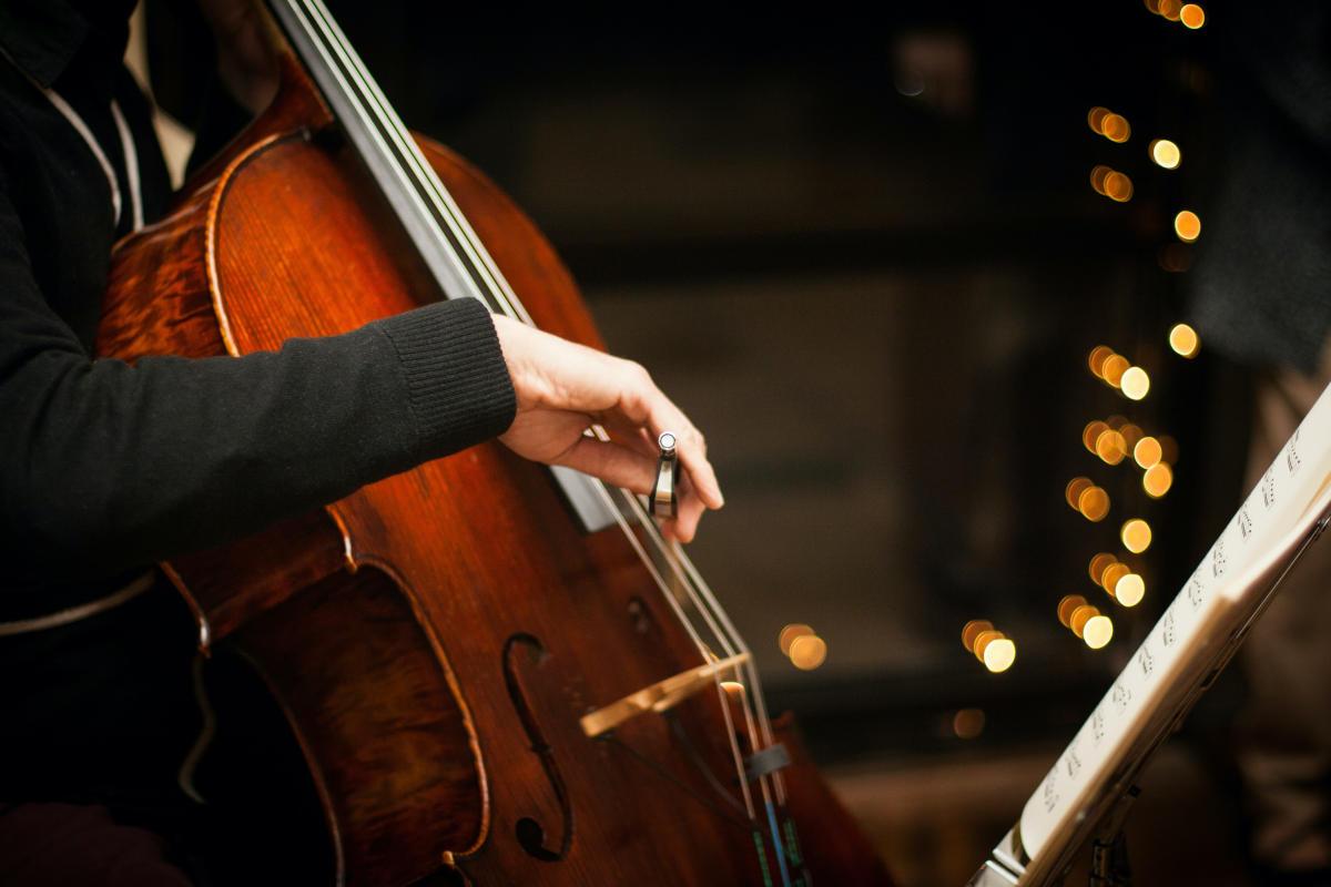 Persona che suona il violoncello