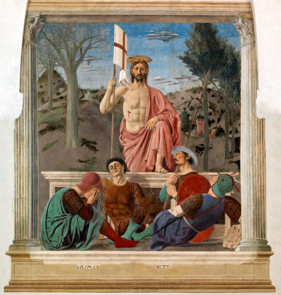 """Piero della Francesca, """"Resurrezione"""", 1458-1474, dipinto a tecnica mista, affresco e tempera"""