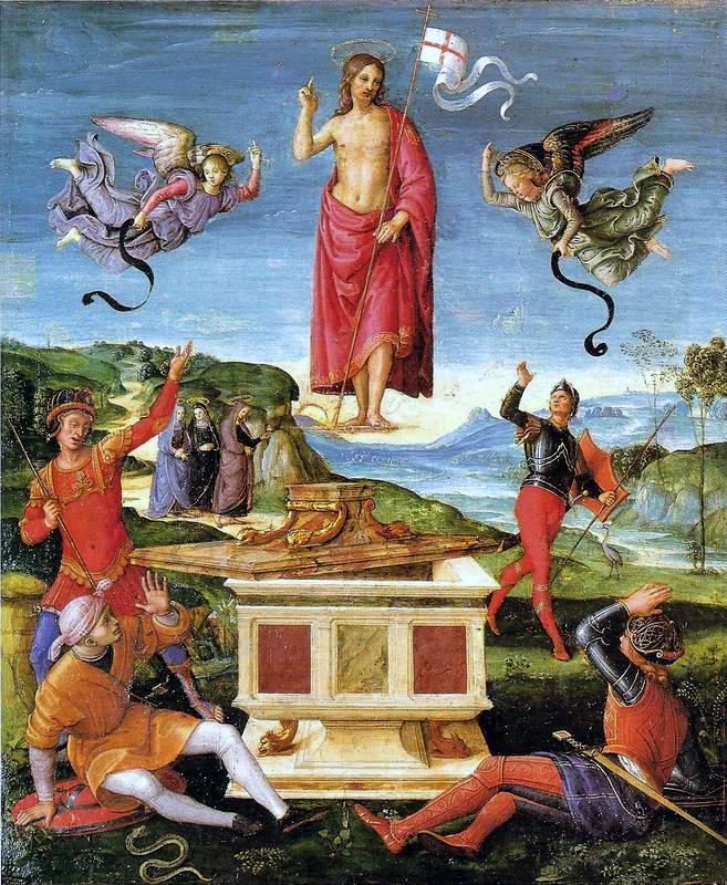 """Raffaello Sanzio, """"Resurrezione di Cristo"""", 1501-1502, dipinto a olio su tavola"""